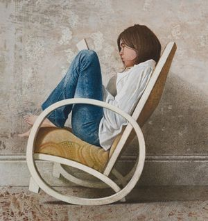 Figure in Rocking Chair | mixed media on canvas on panel