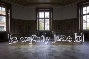 !Mediengruppe Bitnik, Is anybody home lol, 2016, neon sign, white glas tubes, transformer, metal frame, 66 x 440 cm. Exhibition view Kunsthaus Langenthal. Photo: Martina Flury Witschi