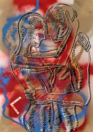 Mark Kostabi, Eternal Bliss, mixed media on paper, 42 x 291/4 inches
