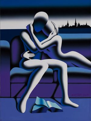 Mark Kostabi, Baltic Passion, original acrylic on canvas
