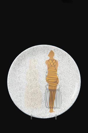 After the Taking of Tea, 2018, hand cut transfer on china, #25 Tassel Dress, 31cm diameter,  courtesy The Bowes Museum