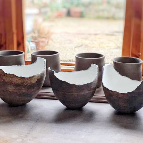 ceramic vessels in studio - Ruty Benjamini
