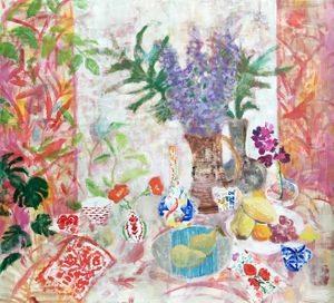 Melanie Parke, Orchid Table, 2016, oil on canvas, 48 x 52 inches