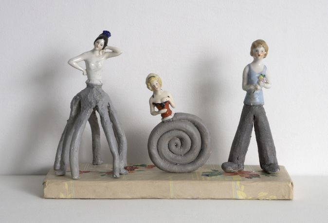 Melissa Stern Three Gals, 2018 Wood, clay, objects, paper, paint 9.50h x 13.50w x 5d in