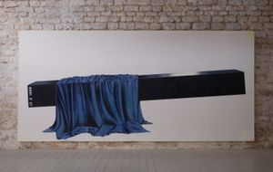 Bench Painting No 67. [Bruno Resurrect] (2008) Oil paint on canvas.  236 x 517cm