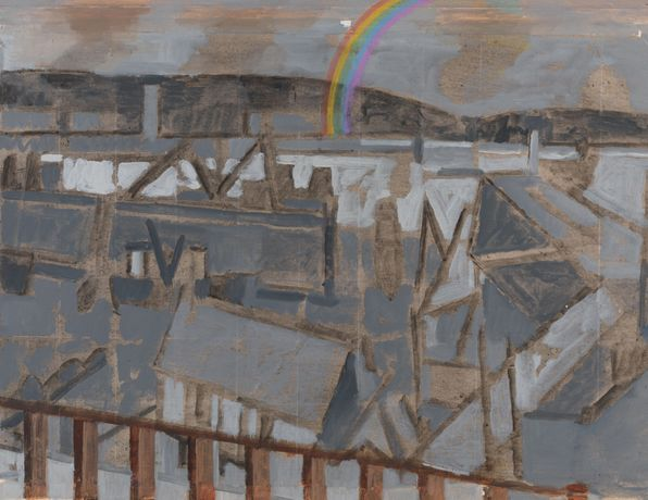 MICHAEL UPTON Newlyn Rainbow oil on paper 44x57cm