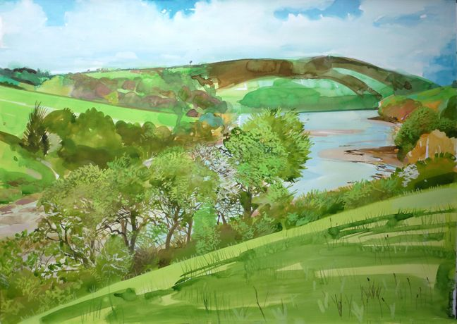 Mike McInnerney 'Hill View, Mawgan Creek May 14 sunny intervals 13c - high tide.' Gouache on paper 594mm x 841mm