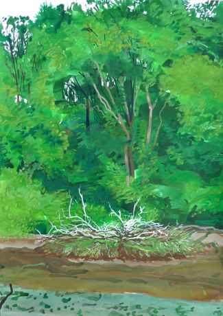 Mike McInnerney Gouache on paper 59 x 42 cm 'Frenchman's Creek 07/07/10 Wednesday July 7 2010 Frenchman's Creek. 18˚C Sunny intervals.'