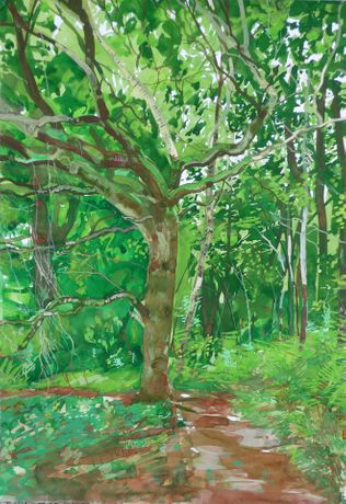 Mike McInnerney Gouache on paper 59 x 42 cm 'Frenchman's Creek 19/07/10 Monday July 19 10 Frenchman's Creek. 17˚C Sun and cloud, occasional shower. Set up the tent as a temporary refuge from the rain. A number of German voices on the path today and a surprise encounter with an old friend who has a place in Gillan Cove.'