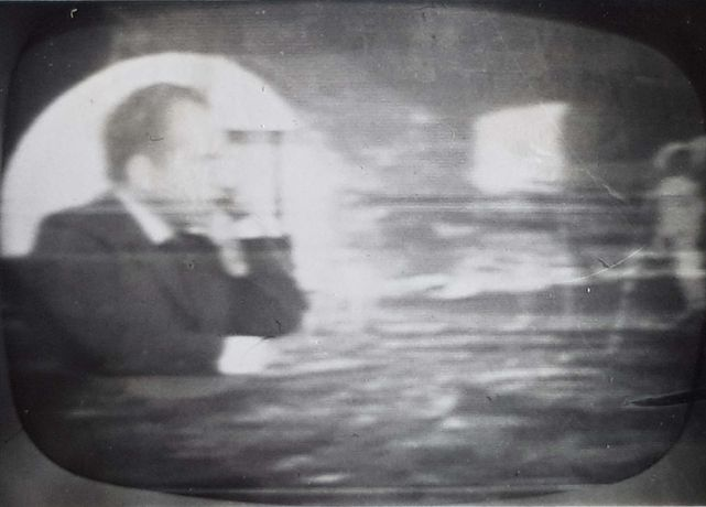 Nixon speaking to the astronauts on the Apollo spacecraft, 20th July 1969. Photo taken from live BBC broadcast on a TV set in Wimbledon UK by Alexis Taylor