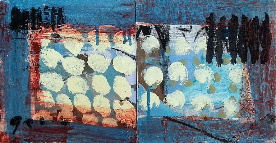Liz Hough, Walled Garden, Winter (Diptych); Oil and collage on board