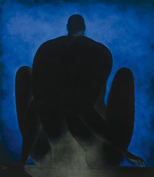 Ricardo Martínez De Hoyos, Figure with Blue Background (Figura con fondo azul) , 1985. Oil on canvas. 200 x 175 cm. Colección Pérez Simón, Mexico. Photo credit: ©Arturo Piera