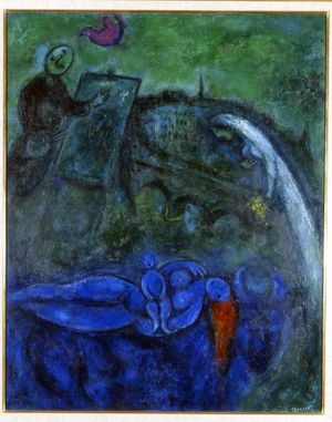 Marc Chagall, Le Pontneuf, 1953, oil on canvas, signed'Marc Chagall' 1953, lower right, signed again'Marc Chagall' on the cross brace, 39.5 x 32 inches