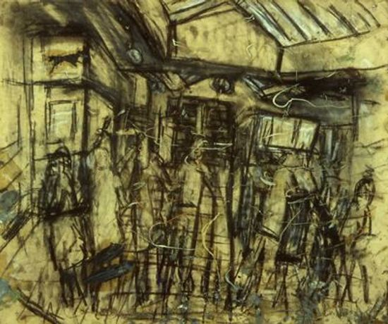 Leon Kossoff  Booking Hall No.6, 1975  Charcoal, oil and wash on paper  Purchased 1979