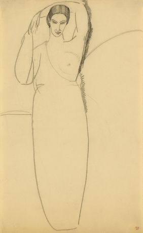 Standing Woman, Left Breast Bared, c. 1911, Amedeo Modigliani, courtesy Richard Nathanson