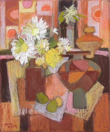 Still Life with Flowers and Pears by Moira Huntly