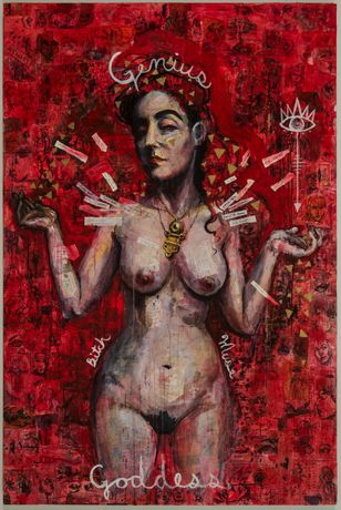 MOLLY CRABAPPLE Kim Boekbinder 2016 mixed media, collage and acrylic on canvas 72 x 48 inches