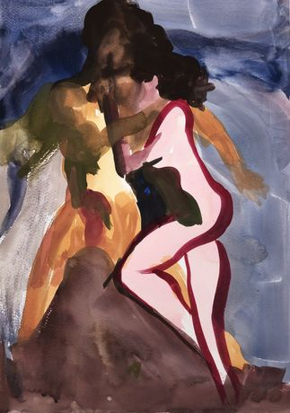 Jesse Kase, Serpentine Embrace, gouache and oil stick on paper, 30 x 42 cm, 2019