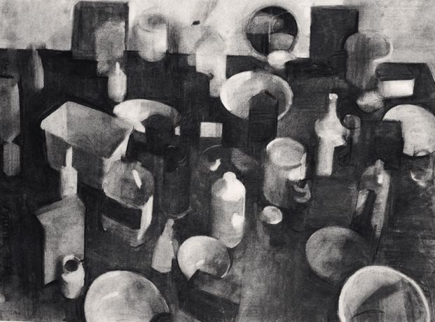 'Arrangement on the floor no 2', 56x 72cm, charcoal on paper by Jason Line
