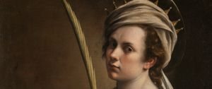 Detail from Artemisia Gentileschi, Self Portrait as Saint Catherine of Alexandria, about 1615–17