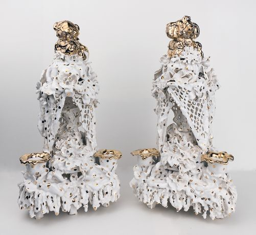 Anthony Sonnenberg, Candelabra (Golden Bear) & (Golden Elephant), 2016. Porcelain over stoneware, found ceramic tchotchkes, glaze, luster, 17 x 8 x 9 each