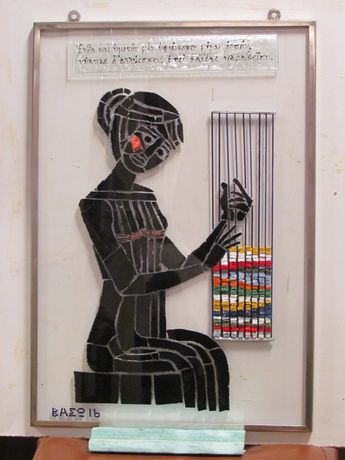 Penelop weaving at her loom by Vasso Spanou