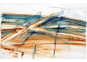 Land water - Caral, 2003 .2015 .Watercolour, pencil on watercolour paper.52x72cm .£300