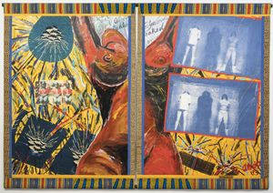 Emma Amos, Blindfolds, 1993 acrylic on canvas with African canvas borders and photo transfer  201 x 284.5 cm