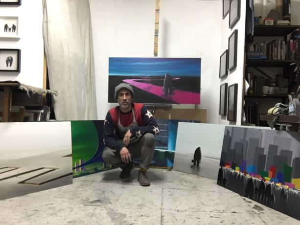 Nadeem in his studio