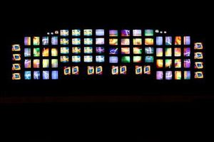 NAM JUNE PAIK M200/Video Wall, 1991, Television monitors, 118 1/16 x 377 15/16 x 19 5/8 in. (300 x 960 x 50 cm) Cha Zoo Yong Photography Copyright POMA / fazi, inc.