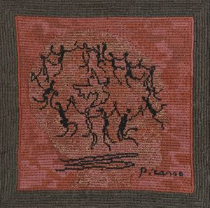 Narelle Jubelin, As Yet Untitled (Pablo Picasso, 1961), 2014, cotton on silk petit point, Courtesy the artist and Marlborough Contemporary, London.