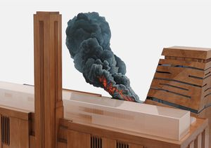 Nathan Coley, Tate Modern on Fire (detail), 2017. Stained timber, Perspex and mixed media. 170 × 100 × 90 cm approx.