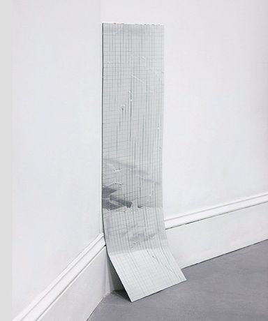 Kayode Ojo, Skyfall, 2014, mylar tape on glass, 36 x 12 inches, courtesy of the artist