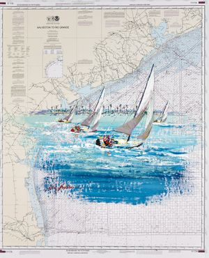 Kerry Hallam, Galveston to Rio Grande, acrylic on nautical cahart, 41.75 x 33.25 inches
