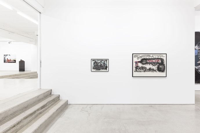 Raymond Pettibon Untitled (Revised Anarchist Etiquette) (2001) & Judith Bernstein Fucked by number (2013) , installation view of the exhibition NEW ACQUISITIONS – Hildebrand Collection, 1 February – 7 May 2017, G2 Kunsthalle Leipzig photo: Dotgain.info © the artists & G2 Kunsthalle Leipzig
