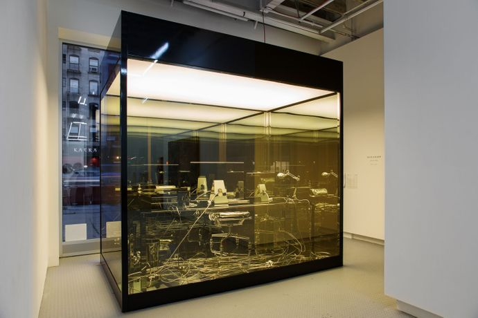 "Vanitas (Artist Desk), 2011-2012 Aluminum, nickel, steel, glass, fluorescent light and vinyl, 120"" x 120"" x 72"