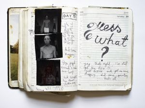 Nigel Shafran, chicken pox self portrait diary page 1991 from Works Books 1984 - 2018 © the artist, courtesy of Sion and Moore