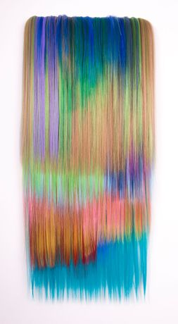 Hiva Alizadeh, Untitled #4, Nomad Chants,  2019, synthetic hair on canvas, 95x36x3 cm |37½x14¼x1¼ inches