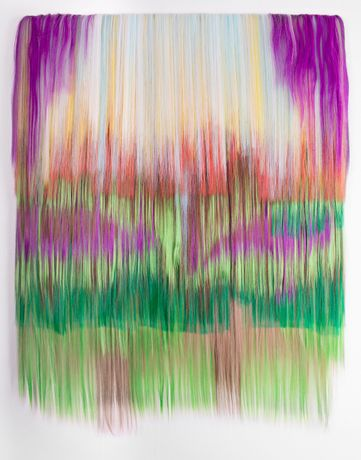 Hiva Alizadeh, Untitled #14, Nomad Chants,  2019, synthetic hair on canvas, 125x93x3 cm | 49¼x36½ x1¼ inches