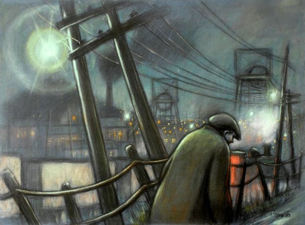 Pit Road with Telegraph Poles and Lights, Norman Cornish: The Definitive Collection, The Bowes Museum