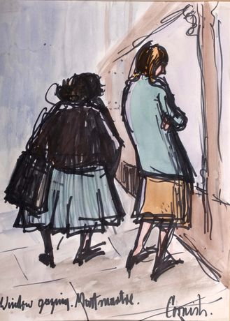 Window gazing in Montmartre, Norman Cornish: The Definitive Collection, The Bowes Museum