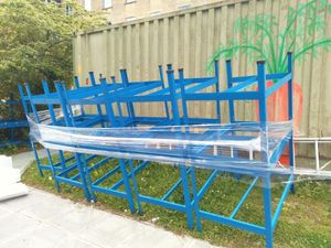 Untitled, painted metal bench frames, plastic shrink-wrap, aluminium ladder, grass, NFS 2019