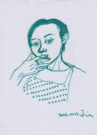 Zhao Jia, Self Portrait, Marker Pen on Paper