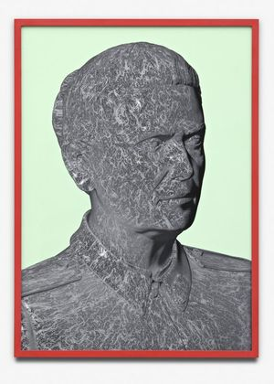 Aleksandra Domanović, Portrait (bump map), 2011, inkjet print, red frame, 72×52 cm, edition of 5 + 2 AP. Courtesy of the artist and Tanya Leighton, Berlin