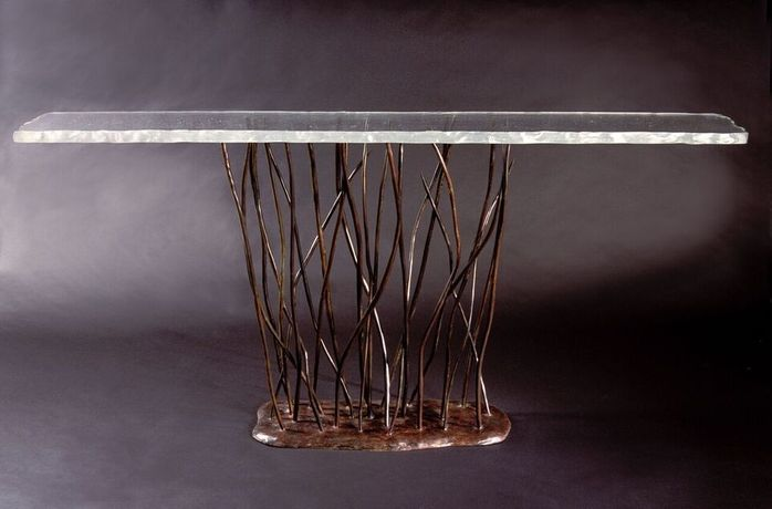 Bronze and cast glass console table