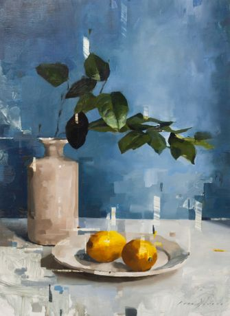 'Lemon and Leaves' oil on board 38 x 28cm by Jon Doran