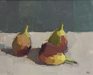 'Three Figs' oil on board 20 x 25cm by Sarah Spackman
