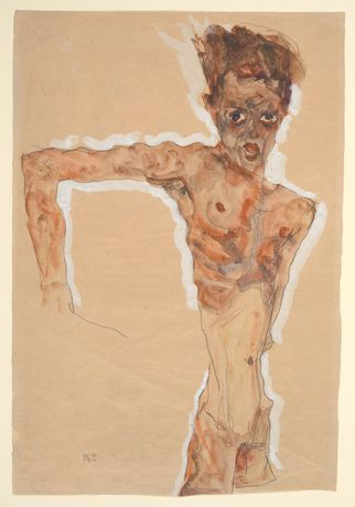 Egon Schiele (Austrian, 1890–1918). Self-Portrait, 1911. Watercolor, gouache, and graphite on paper, 20 1/4 x 13 3/4 in. (51.4 x 34.9 cm). The Metropolitan Museum of Art, New York, Bequest of Scofield Thayer, 1982 (1984.433.298ab)