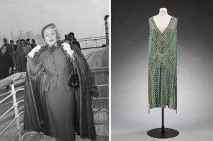Left to right: Marlene Dietrich wearing a day suit by Christian Dior on-board Queen Elizabeth arriving in New York, 21 December 1950 © Getty Images; Silk georgette and glass beaded 'Salambo' dress previously owned by Miss Emilie Grigsby, Jeanne Lanvin, 1925, France. Museum no. T.151&A-1967. Given by Lord Southborough. © Victoria and Albert Museum, London