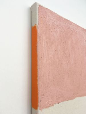 (DETAIL) Untitled (diptych), 2019, Gesso, acrylic, pencil on canvas and oil stick on raw canvas, 35 x 50cm, Gabriele Herzog